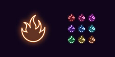 Neon Fire icon, Flame. Set of glowing Fire in Neon style with transparent backlight. Vector silhouette, red pink purple violet blue azure green yellow orange color Ilustrace