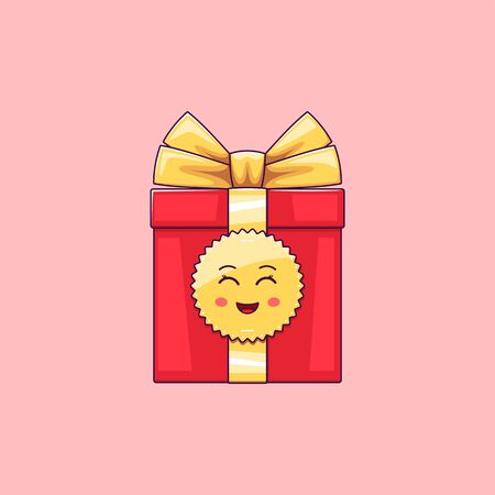 Cartoon kawaii Gift Box with Smile and Smiling eyes. Cute red Gift with golden Bowknot, festive Character with Cheerful emotion. Vector illustration