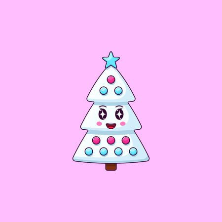 Cartoon kawaii Christmas tree with Admiring face. Cute white Christmas tree with decorations, Childish Character with Rapt emotion. Vector illustration