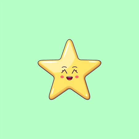 Cartoon Kawaii Golden Star with Grinning Face. Cute Star with 5 Rays, Childish Character with Cheerful emotion. Vector illustration
