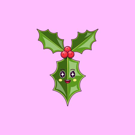 Cartoon kawaii Holly branch with Admiring face. Cute Ilex leaf for Christmas celebration, Childish Character with Rapt emotion. Vector illustration