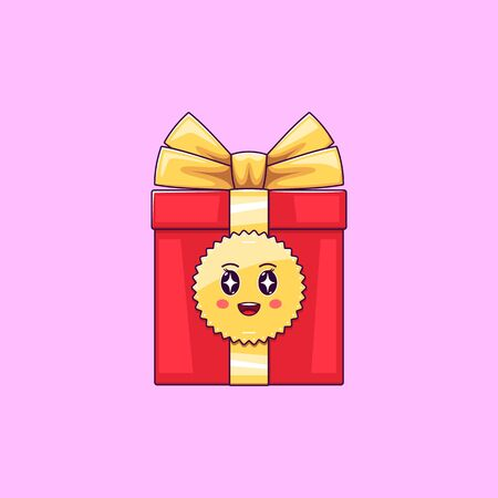Cartoon kawaii Gift Box with Admiring face. Cute red Gift with golden Bowknot, festive Character with Rapt emotion. Vector illustration Illustration