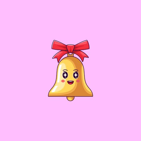 Cartoon Kawaii Golden Bell with Admiring Face. Cute Bell with red Bowknot, Childish Character with Rapt emotion. Vector illustration Illustration