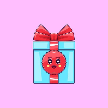 Cartoon kawaii Gift Box with Admiring face. Cute blue Gift with red Bowknot, Childish Character with Rapt emotion. Vector illustration