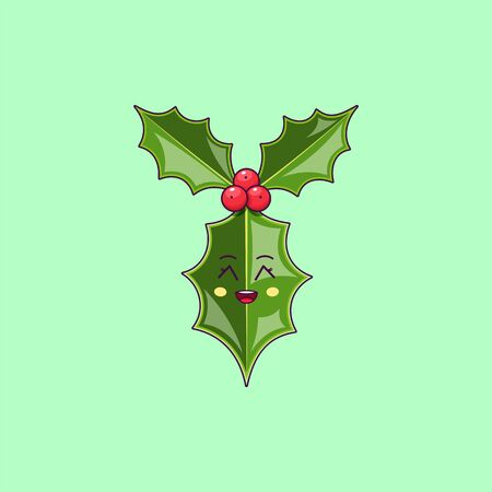 Cartoon kawaii Holly branch with Grinning face. Cute Ilex leaf for Christmas celebration, Childish Character with Cheerful emotion. Vector illustration
