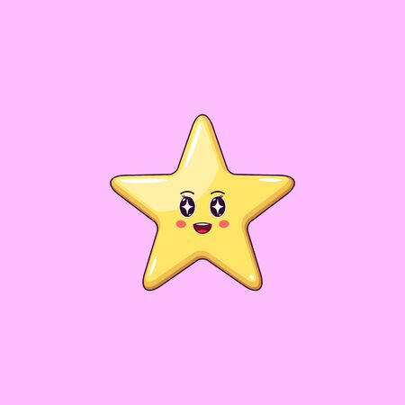 Cartoon Kawaii Golden Star with Admiring Face. Cute Star with 5 Rays, Childish Character with Rapt emotion. Vector illustration