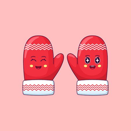 Cartoon kawaii Mittens with Smiling eyes and Admiring face. Cute red Mittens with pattern for Christmas celebration, Childish Character with Cheerful emotion. Vector illustration