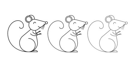 Black Rat with smile, symbol set for Chinese New Year 2020. Rat Sign with different Outline thickness, Black Mouse Silhouette. Chinese Zodiac of the Lunar Calendar. Vector illustration