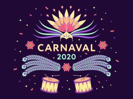 Feiertagsbanner von Carnaval 2020, spanischer Text. Vektor-Illustration von Karneval und Festival in Brasilien. Bunte festliche Komposition mit Kopfschmuck, Federn, Konfetti und Trommeln auf dunklem Hintergrund