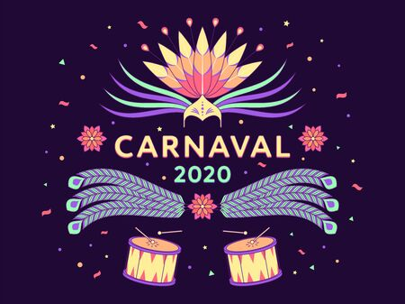 Holiday banner of Carnaval 2020, spanish text. Vector illustration of carnival and festival in Brazil. Colorful festive composition with headdress, feathers, confetti and drums on dark background