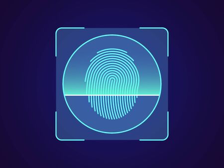 Fingerprint recognition. Biometric scanning system for finger, holographic interface of person identification. Fingerprint ID technology. System recognition and verification. Vector illustration
