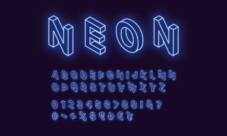 Neon isometric alphabet, Blue color. Neon outlined Font with set of isometric glowing letters, numbers, currency and different signs and symbols. Vector 3d typeface for typography design