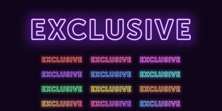 Neon text Exclusive, expressive Title. Set of glowing word Exclusive in Neon outline style with transparent backlight. Vector kit, red pink purple violet blue azure green yellow orange colors