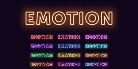 Neon text Emotion, expressive Title. Set of glowing word Emotion in Neon outline style with transparent backlight. Vector kit, red pink purple violet blue azure green yellow orange colors