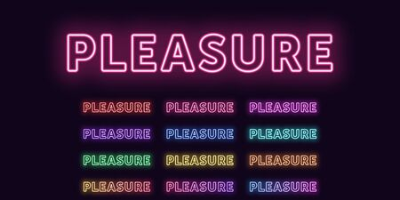 Neon text Pleasure, expressive Title. Set of glowing word Pleasure in Neon outline style with transparent backlight. Vector kit, red pink purple violet blue azure green yellow orange colors
