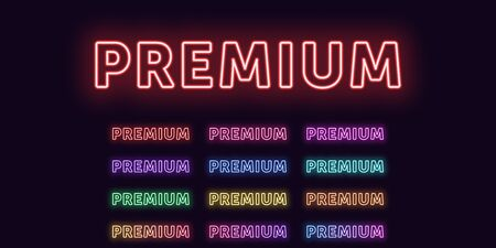 Neon text Premium, expressive Title. Set of glowing word Premium in Neon outline style with transparent backlight. Vector kit, red pink purple violet blue azure green yellow orange colors