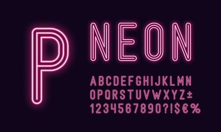 Neon rounded alphabet, Pink color. Neon outlined Font, set of monochrome glowing letters, numbers, currency and different signs, symbols. Vector typeface for typography design Illustration