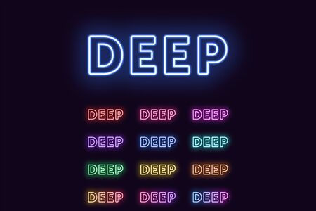 Neon text Deep, expressive Title. Set of glowing Deep word in Neon outline style with transparent backlight. Vector kit, red pink purple violet blue azure green yellow orange color