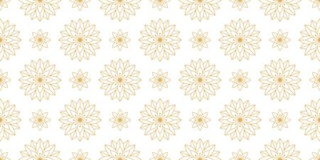 Golden seamless pattern with geometric outline flowers. Geometrical floral gold texture on white background to print on fabric, textile tissue, wrapping paper and packaging. Vector illustration Vetores