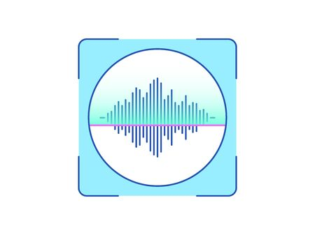 Voice recognition, icon. Biometric scanning system for human speech, interface of person identification. Voice ID technology. System recognition and verification. Vector illustration