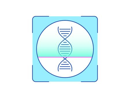 DNA recognition, icon. Biometric scanning system for human biomaterial, interface of person identification. DNA ID technology. System recognition and verification. Vector illustration