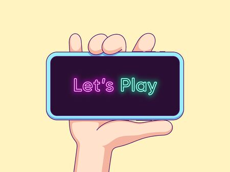 Cartoon human hand keeps and shows touchscreen phone with neon text Lets Play on the display. Phone template composition for game content. Vector illustration for social media network