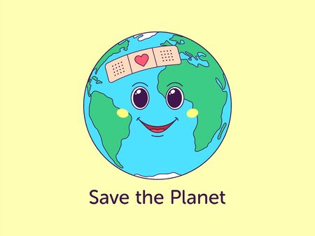 Terre de dessin animé avec un visage joyeux et un texte Save the Planet. Monde terrestre convivial pour carte postale, bannière, affiche. Prenez soin avec amour du monde. Personnage mignon avec coeur sur patch. Illustration vectorielle