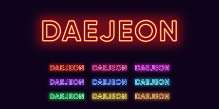 Neon Daejeon name, City in South Korea. Neon text of Daejeon city. Vector set of glowing Headlines with transparent backlight. Red pink purple, violet blue azure, green yellow orange colors