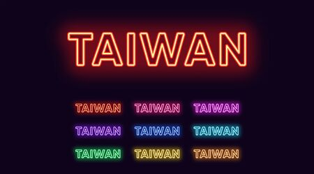 Neon Taiwan name, Asian Country. Neon text of Taiwan. Vector set of glowing Headlines with transparent backlight. Red pink purple, violet blue azure, green yellow orange colors