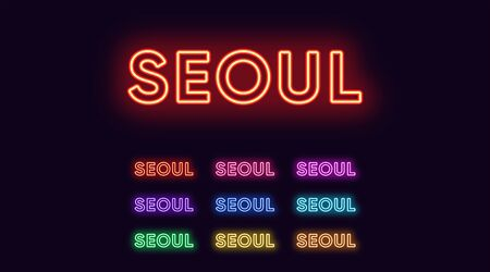 Neon Seoul name, Capital City in South Korea. Neon text of Seoul city. Vector set of glowing Headlines with transparent backlight. Red pink purple, violet blue azure, green yellow orange colors