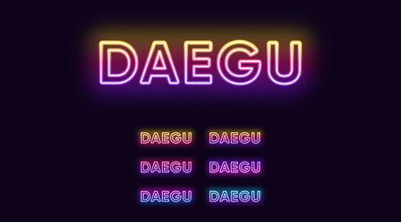 Neon Daegu name, City in South Korea. Neon text of Daegu city. Vector set of glowing Headlines with transparent backlight. Bright Gradient colors
