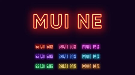 Neon Mui Ne name, City in Vietnam. Neon text of Mui Ne city. Vector set of glowing Headlines with transparent backlight. Red pink purple, violet blue azure, green yellow orange colors 版權商用圖片 - 140681855