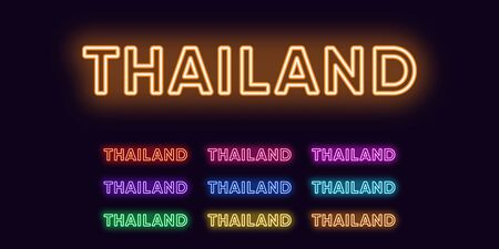 Neon Thailand name, Asian Country. Neon text of Thailand. Vector set of glowing Headlines with transparent backlight. Red pink purple, violet blue azure, green yellow orange colors