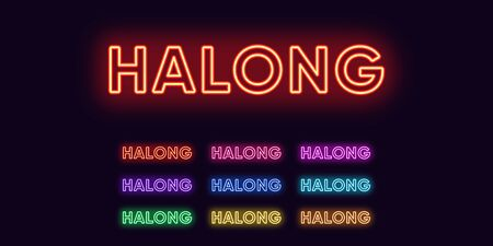 Neon Halong name, City in Vietnam. Neon text of Halong city. Vector set of glowing Headlines with transparent backlight. Red pink purple, violet blue azure, green yellow orange colors