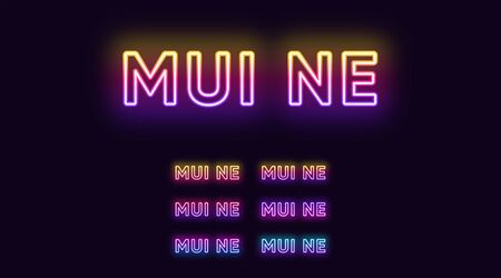 Neon Mui Ne name, City in Vietnam. Neon text of Mui Ne city. Vector set of glowing Headlines with transparent backlight. Bright Gradient colors 版權商用圖片 - 140681766