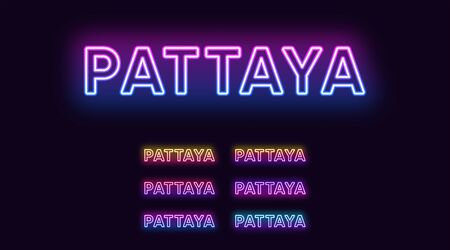 Neon Pattaya name, resort City in Thailand. Neon text of Pattaya city. Vector set of glowing Headlines with transparent backlight. Bright Gradient colors