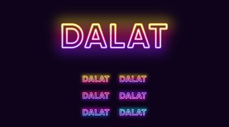 Neon Dalat name, City in Vietnam. Neon text of Dalat city. Vector set of glowing Headlines with transparent backlight. Bright Gradient colors