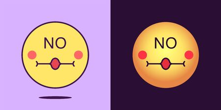Emoji face icon with phrase No. Emoticon with text No. Set of cartoon negative faces, emotion icon for social media communication and sign for print. Vector illustration Иллюстрация