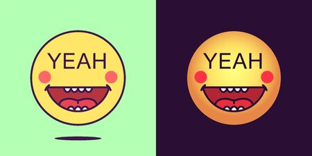Emoji face icon with phrase Yeah. Emoticon with text Yeah. Set of cartoon faces, emotion icon for social media communication, funny sticker and good sign for print. Vector illustration