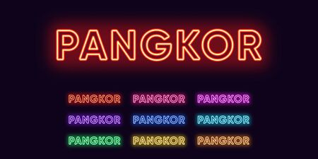 Neon Pangkor name, Island in Malaysia. Neon text of Pangkor Island. Vector set of glowing Headlines with transparent back light. Red pink purple, violet blue azure, green yellow orange colors Vektorové ilustrace