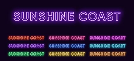 Neon Sunshine Coast name, city in Australia. Neon text of Sunshine Coast city. Vector set of glowing headlines with transparent back light. Red pink purple, violet blue azure, green yellow orange color
