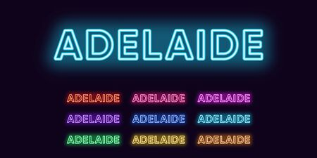 Neon Adelaide name, city in Australia. Neon text of Adelaide city. Vector set of glowing headlines with transparent back light. Red pink purple, violet blue azure, green yellow orange colors Illustration