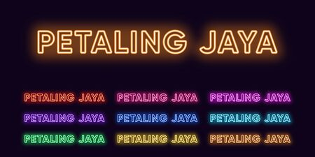 Neon Petaling Jaya name, City in Malaysia. Neon text of Petaling Jaya city. Vector set of glowing Headlines with transparent back light. Red pink purple, violet blue azure, green yellow orange