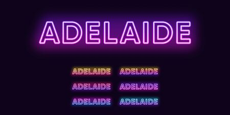 Neon Adelaide name, city in Australia. Neon text of Adelaide city. Vector set of glowing headlines with transparent back light. Bright gradient colors Illustration