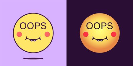 Emoji face icon with phrase Oops. Silly emoticon with text Oops. Set of cartoon faces, emotion icon for social media communication, funny sticker and sign for print. Vector illustration