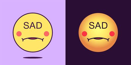 Emoji face icon with phrase Sad. Unhappy emoticon with text Sad. Set of cartoon faces, emotion icon for social media communication, melancholy sticker and sign for print. Vector illustration 矢量图像