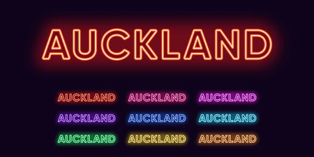 Neon Auckland name, city in New Zealand. Neon text of Auckland city. Vector set of glowing headlines with transparent backlight. Red pink purple, violet blue azure, green yellow orange colors