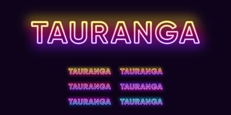 Neon Tauranga name, city in New Zealand. Neon text of Tauranga city. Vector set of glowing headlines with transparent backlight. Bright gradient colors
