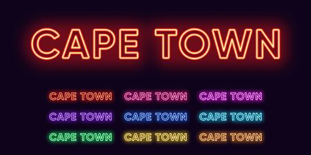 Neon Cape Town name, City in South Africa. Neon text of Cape Town city. Vector set of glowing Headlines with transparent backlight. Red pink purple, violet blue azure, green yellow orange colors