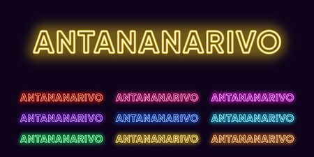 Neon Antananarivo name, City in Madagascar. Neon text of Antananarivo city. Vector set of glowing Headlines with transparent backlight. Red pink purple, violet blue azure, green yellow orange colors
